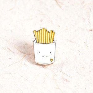 Cute Fries Face Enamel Pin